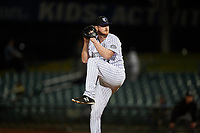 Lancaster JetHawks relief pitcher Bryan Baker (33) delivers a pitch during a California League game against the Visalia Rawhide at The Hangar on May 17, 2018 in Lancaster, California. Lancaster defeated Visalia 11-9. (Zachary Lucy/Four Seam Images)