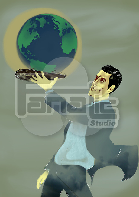 Businessman holding a globe on a platter