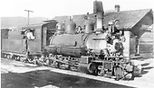 3/4 engineer's-side view of CB&amp;Q #537 at Breckenridge depot.<br /> C&amp;S  Breckenridge, CO