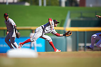 Scottsdale Scorpions David Fletcher (3), of the Los Angeles Angels of Anaheim organization, stretches for a throw during a game against the Mesa Solar Sox on October 18, 2016 at Sloan Park in Mesa, Arizona.  Mesa defeated Scottsdale 6-3.  (Mike Janes/Four Seam Images)