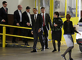 United States President Barack Obama and adviser Valerie Jarrett walk to the presidential limousine May 8, 2013 after he spoke to electric utility officers about lessons learned from Hurricane Sandy at the Department of Energy in Washington, DC. <br /> Credit: Chris Kleponis / Pool via CNP