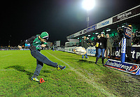 4th January 2014; Matchday mascot, Darragh Conneely, aged 12, from Corrib RFC, kicks the ball into the stand before the match. Rabodirect Pro12, Connacht v Leinster, Sportsground, Galway. Picture credit: Tommy Grealy/actionshots.ie.