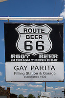 The Gay Parita Station is a reproduction of an early-twentieth-century Sinclair gasoline station. The original Gay Parita station had been established back in the 1930s by a couple named Fred and Gay Mason, and the original native-stone garage from that early era still stands on the property.  The station was built on the orignail property by Gary Turner in 2004, Gary passed away in 2015.  Gary's daughter Barbera Turner is now operating the station.