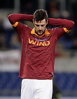 Calcio, semifinale di andata di Coppa Italia: Roma vs Inter. Roma, stadio Olimpico, 23 gennaio 2013..AS Roma forward Mattia Destro reacts during the Italy Cup football semifinal first half match between AS Roma and FC Inter at Rome's Olympic stadium, 23 January 2013..UPDATE IMAGES PRESS/Riccardo De Luca