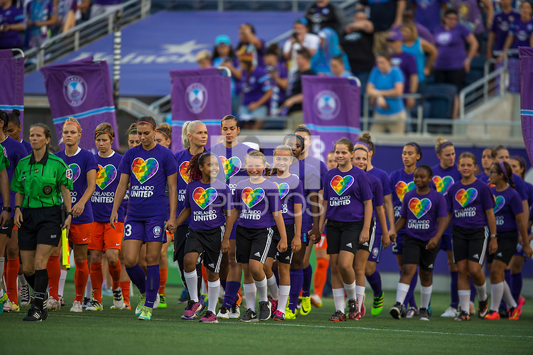 Orlando, FL - Thursday June 23, 2016: Orlando Pride prior to a regular season National Women's Soccer League (NWSL) match between the Orlando Pride and the Houston Dash at Camping World Stadium.