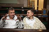 WARSAW, POLAND, December, 2016:  Andrzej Halicki, deputy head of the Civic Platform, left and Arkadiusz Myrcha, member of Civic Platform are sitting covered in blankets, because the heating has been shut off.  Polish opposition MP's from Civic Platform and Modern parties are occupying the Sejm, Polish parliament in protest to the curbing of free press access to the parliament.<br /> (Photo by Polish opposition MP for Piotr Malecki)<br /> ****WARSZAWA, 25/12/2016:<br /> Poslowie PO; Andrzej Halicki (L) i  and Arkadiusz Myrcha, podczas okupacji Sejmu przez opozycje. Fot: Posel opozycji dla Piotra Maleckiego / Napo Images###ZDJECIE MOZE BYC UZYTE W KONTEKSCIE NIEOBRAZAJACYM OSOB PRZEDSTAWIONYCH NA FOTOGRAFII###