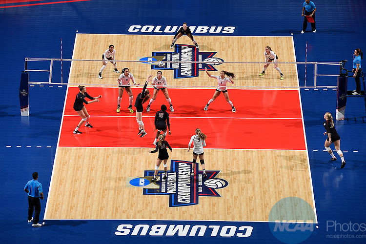 COLUMBUS, OH - DECEMBER 17:  Ivana Vanjak (7) of Stanford University sets the ball against the University of Texas during the Division I Women's Volleyball Championship held at Nationwide Arena on December 17, 2016 in Columbus, Ohio.  Stanford defeated Texas 3-1 to win the national title. (Photo by Jamie Schwaberow/NCAA Photos via Getty Images)