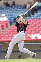 Kyle Petty (44) of the Bakersfield Blaze bats during a game against the High Desert Mavericks at Mavericks Stadium on May 18, 2015 in Adelanto, California. High Desert defeated Bakersfield, 7-6. (Larry Goren/Four Seam Images)