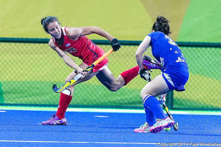 Caitlin van Sickle #28 of United States defends during USA vs Japan in a Pool B game at the Rio 2016 Olympics at the Olympic Hockey Centre in Rio de Janeiro, Brazil.