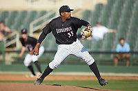 Kannapolis Intimidators relief pitcher Yosmer Solorzano (35) in action against the Hagerstown Suns at Kannapolis Intimidators Stadium on May 6, 2018 in Kannapolis, North Carolina. The Intimidators defeated the Suns 4-3. (Brian Westerholt/Four Seam Images)