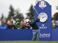 Lee Westwood (EUR) during the first practice day ahead of the 2014 Ryder Cup at Gleneagles, Perthshire, Scotland 26th to 28th September 2014. Picture David Lloyd / www.golffile.ie.