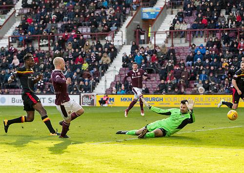 17th March 2018, Tynecastle Park, Edinburgh, Scotland; Scottish Premier League football, Heart of Midlothian versus Partick Thistle;  Steven Naismith of Hearts scores his sides second goal
