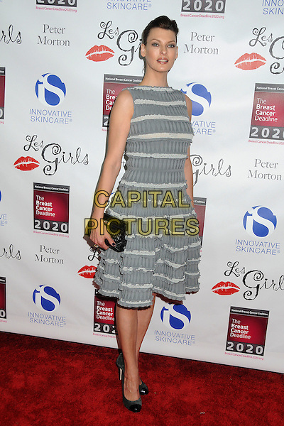 Linda Evangelista.Les Girls Enticing 11th Annual Cabaret Event Held At Avalon, Hollywood, California, USA..October 17th, 2011.full length dress white grey gray sleeveless striped stripes black clutch bag.CAP/ADM/BP.©Byron Purvis/AdMedia/Capital Pictures.