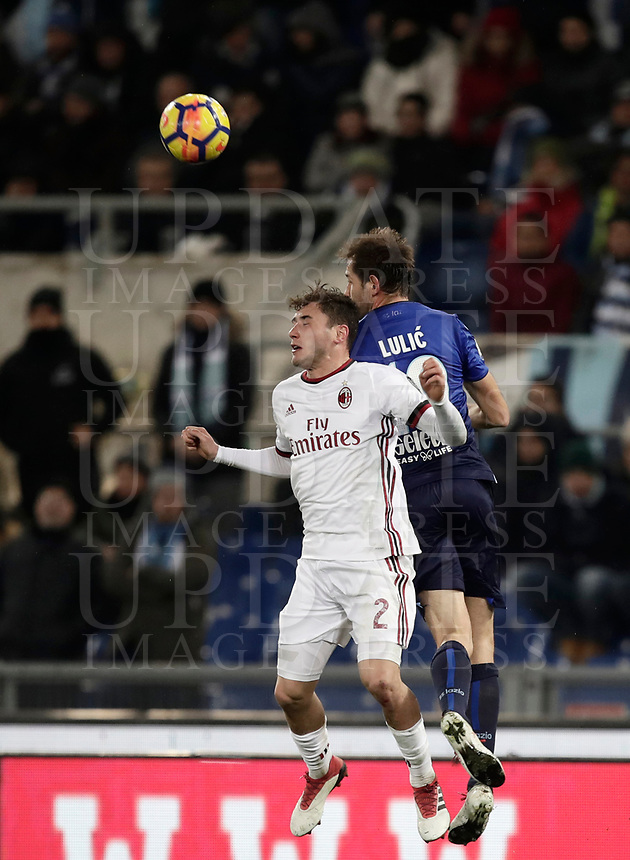Football Soccer: Tim Cup semi-final second Leg, SS Lazio vs AC Milan, Stadio Olimpico, Rome, Italy, February 28, 2018.<br /> Lazio's Senad Lulic (r) in action with Milan's Davide Calabria (l) during the Tim Cup semi-final football match between SS Lazio vs AC Milan, at Rome's Olympic stadium, February 28, 2018.<br /> <br /> UPDATE IMAGES PRESS/Isabella Bonotto