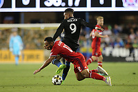 San Jose, CA - Wednesday September 27, 2017: Arturo Alvarez, Danny Hoesen during a Major League Soccer (MLS) match between the San Jose Earthquakes and the Chicago Fire at Avaya Stadium.