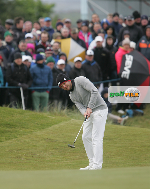 Maximilian KIEFFER (GER) on the 18th green during round 3 of the 2015 Dubai Duty Free Irish Open hosted by the Rory Foundation, Royal County Down Golf Club, Newcastle Co Down, Northern Ireland. 30/05/2015<br /> Picture TJ Caffrey, www.golffile.ie