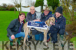 Noel Browne Castleisland with his greyhound Coolavanny Bingo who won the Boylesports Irish Coursing Derby in Clonmel last weekend l-r: Eddie Mahony co-trainer with co-owners Derek Law, Mark Lowther and Noel Browne