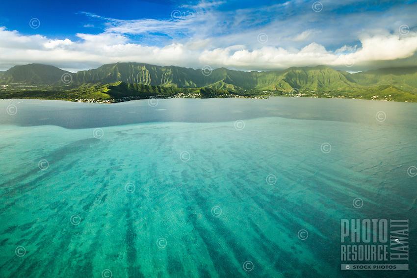 An aerial view of the Ko'olau Range beyond Kane'ohe Bay, Windward O'ahu.
