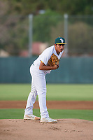 AZL Athletics starting pitcher Henderson Hurtado (51) prepares to deliver a pitch to the plate against the AZL Reds on July 16, 2017 at Lew Wolff Training Complex in Mesa, Arizona. AZL Athletics defeated the AZL Reds 13-5. (Zachary Lucy/Four Seam Images)