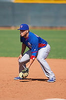 Chicago Cubs Victor Caratini (4) during an instructional league game against the Texas Rangers on October 5, 2015 at the Surprise Stadium Training Complex in Surprise, Arizona.  (Mike Janes/Four Seam Images)