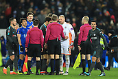 18th March 2018, King Power Stadium, Leicester, England; FA Cup football, quarter final, Leicester City versus Chelsea; Kasper Schmeichel of Leicester City has words with referee Craig Pawson as the final whistle went on a Leicester City attack