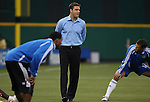 14 April 2007: Kansas City's rookie head coach Curt Onalfo (center) walks the field as his players warm up before the game.  DC United lost 4-2 to the Kansas City Wizards at RFK Stadium in Washington, DC in their Major League Soccer 2007 regular season home opener.