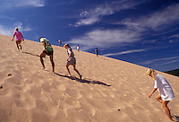 AJ2791, Sleeping Bear Dunes, sand dune, dune climb, Michigan, People climbing up the steep large sand dune (a perched dune) at Sleeping Bear Dunes National Lakeshore in the state of Michigan.