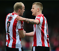 Lincoln City's Terry Hawkridge, right, celebrates scoring his sides equalising goal to make the score 1-1 with team-mate Bradley Wood<br /> <br /> Photographer Chris Vaughan/CameraSport<br /> <br /> Vanarama National League - Lincoln City v Macclesfield Town - Saturday 22nd April 2017 - Sincil Bank - Lincoln<br /> <br /> World Copyright &copy; 2017 CameraSport. All rights reserved. 43 Linden Ave. Countesthorpe. Leicester. England. LE8 5PG - Tel: +44 (0) 116 277 4147 - admin@camerasport.com - www.camerasport.com