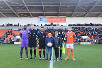 Pre-match line-up<br /> <br /> Photographer Kevin Barnes/CameraSport<br /> <br /> Emirates FA Cup Second Round - Blackpool v Maidstone United - Sunday 1st December 2019 - Bloomfield Road - Blackpool<br />  <br /> World Copyright © 2019 CameraSport. All rights reserved. 43 Linden Ave. Countesthorpe. Leicester. England. LE8 5PG - Tel: +44 (0) 116 277 4147 - admin@camerasport.com - www.camerasport.com