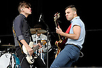 Nate Harold and Jack Antonoff of Fun performs at the Outside Lands Music & Art Festival at Golden Gate Park in San Francisco, California.