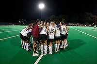 STANFORD CA - September 23, 2011: Victory huddle during the Stanford vs Cal at vs Lehigh field hockey game at the Varsity Field Hockey Turf Friday night at Stanford.<br /> <br /> The Cardinal team defeated the Golden Bears 3-2.