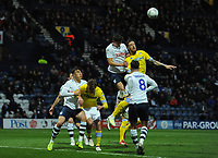 Preston North End's Jordan Storey vies for possession with Leeds United's Pontus Jansson<br /> <br /> Photographer Kevin Barnes/CameraSport<br /> <br /> The EFL Sky Bet Championship - Preston North End v Leeds United -Tuesday 9th April 2019 - Deepdale Stadium - Preston<br /> <br /> World Copyright &copy; 2019 CameraSport. All rights reserved. 43 Linden Ave. Countesthorpe. Leicester. England. LE8 5PG - Tel: +44 (0) 116 277 4147 - admin@camerasport.com - www.camerasport.com