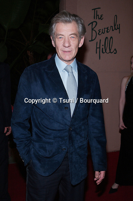 Sr Ian McKellan arriving at the Clive Davis Pre-Grammy party at the Beverly Hills Hotel in Los Angeles. February 26, 2002.           -            McKellanIan01.jpg