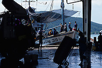 Fisherman unloading captured fish from fishing boat