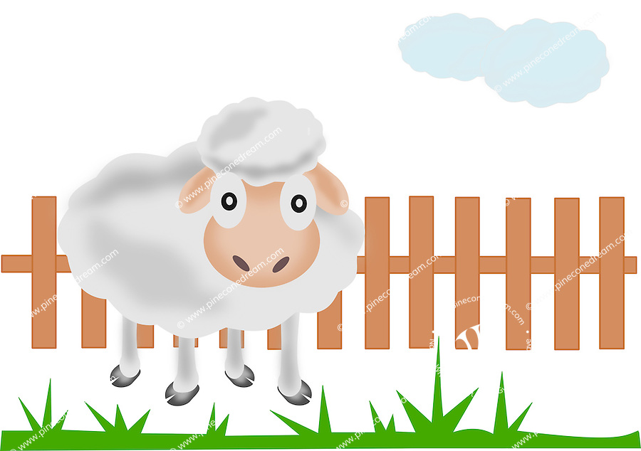 Illustration of cute sheep standing near a farm fence and grass. <br />