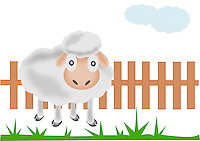 Illustration of cute sheep standing near a farm fence and grass. <br /> <br /> This image is also available as scalable EPS and PNG format(with transparent background).