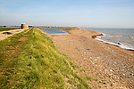 Coastal landscape with bay bar and lagoon formed from longshore drift,  North Sea coast, Bawdsey, Suffolk, England, UK