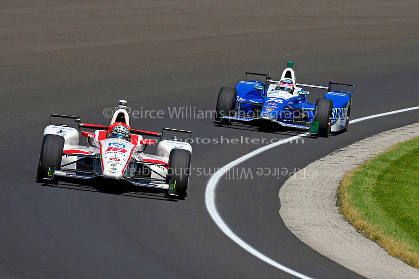 Verizon IndyCar Series<br /> Indianapolis 500 Carb Day<br /> Indianapolis Motor Speedway, Indianapolis, IN USA<br /> Friday 26 May 2017<br /> James Davison, Dale Coyne Racing Honda, Takuma Sato, Andretti Autosport Honda<br /> World Copyright: F. Peirce Williams