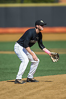 Wake Forest Demon Deacons shortstop Johnny Aiello (2) on defense against the Florida State Seminoles at David F. Couch Ballpark on April 16, 2016 in Winston-Salem, North Carolina.  The Seminoles defeated the Demon Deacons 13-8.  (Brian Westerholt/Four Seam Images)