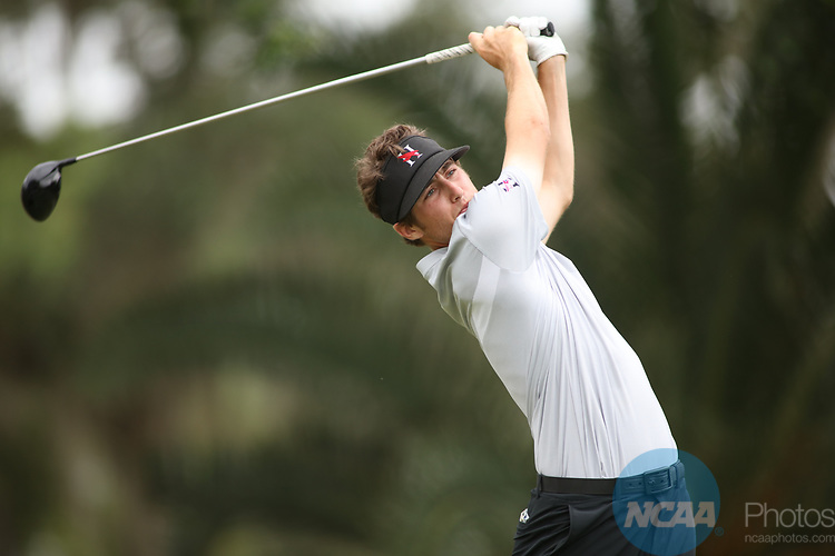 HOWEY IN THE HILLS, FL - MAY 19: Jon Colten Stanaland of Huntingdon College tees off during the Division III Men's Golf Championship held at the Mission Inn Resort and Club on May 19, 2017 in Howey In The Hills, Florida. (Photo by Cy Cyr/NCAA Photos via Getty Images)