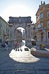 Croatia, Istria, Pula, Zlatna vrata, Triumphal Arch of Sergia, Via Sergia, Roman ruins, architecture, Istrian coast, Adriatic Sea, Europe,
