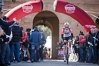 defending race champion Tiesj Benoot (BEL/Lotto-Soudal) coming back from sign-on<br /> <br /> 13th Strade Bianche 2019 (1.UWT)<br /> One day race from Siena to Siena (184km)<br /> <br /> ©kramon