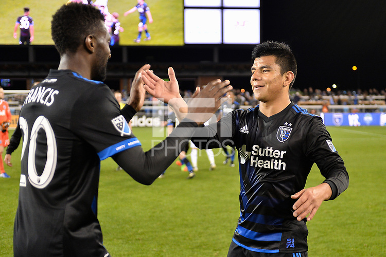 San Jose, CA - Saturday, March 11, 2017: Shaun Francis, Nick Lima during a Major League Soccer (MLS) match between the San Jose Earthquakes and the Vancouver Whitecaps FC at Avaya Stadium.