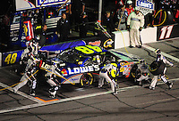 Feb 07, 2009; Daytona Beach, FL, USA; NASCAR Sprint Cup Series driver Jimmie Johnson pits during the Bud Shootout at Daytona International Speedway. Mandatory Credit: Mark J. Rebilas-