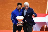 Fabio Fognini e Nicola Pietrangeli con il trofeo <br /> Monaco 21/04/2019 Monte Carlo Country Club Panoramica <br /> Tennis Torneo ATP Montecarlo 2019 <br /> Foto Norbert Scanella / Panoramic / Insidefoto <br /> ITALY ONLY