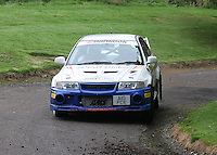 Mike Faulkner / Pete Foy near Junction 10 on the Gleaner Oil & Gas Cooper Park Special Stage 1 of the Gleaner Oil & Gas Speyside Stages Rally 2012, Round 6 of the RAC MSA Scotish Rally Championship which was organised by The 63 Car Club (Elgin) Ltd and based in Elgin on 4.8.12..........