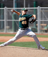 Mike Hart - Oakland Athletics - 2009 spring training.Photo by:  Bill Mitchell/Four Seam Images