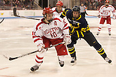 Danny O'Regan (BU - 10), Hampus Gustafsson (Merrimack - 20) - The Boston University Terriers defeated the visiting Merrimack College Warriors 4-0 (EN) on Friday, January 29, 2016, at Agganis Arena in Boston, Massachusetts.