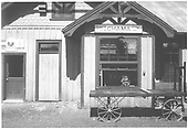 A close-in shot of the Chama depot agent's window office.<br /> C&amp;TS  Chama, NM