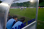 England 1 Scotland 0, 22/05/2008. Llanelian Road, Old Colwyn, Four Nations Semi-Professional Tournament. Scotland's substitutes watch on as England celebrate the only goal during the Four Nations Semi-Professional tournament at Colwyn Bay in a game won 1-0 by the English. The tournament was established in 2002 and was held on an annual basis featuring teams from England, Scotland and Wales and an invited team, on this occasion Gibraltar. The tournament is hosted on a rotational basis and in 2008 games were staged at Colwyn Bay FC, Rhyl FC and The New Saints ground in Oswestry. Photo by Colin McPherson.